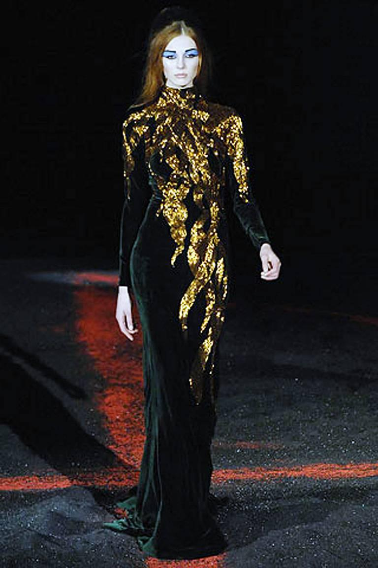 The Alexander McQueen 2007 Velvet Beaded Flame Gown for Holiday   New! For Sale 2