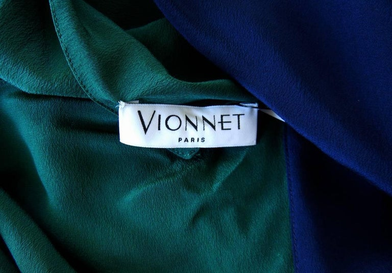 Vionnet Colorblock Emerald Green & Navy Silk Gown with Train 3