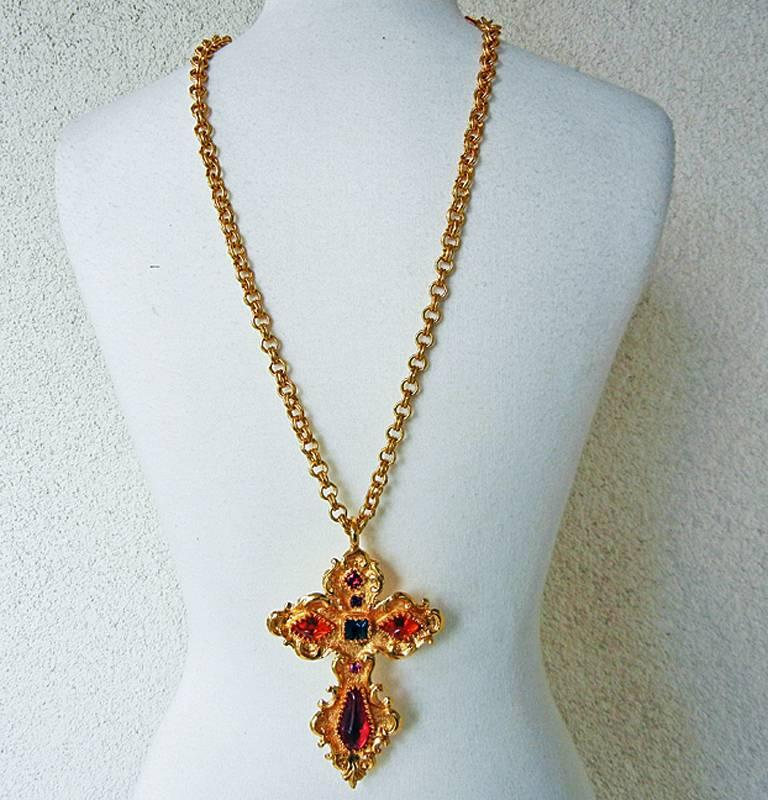 Christian Lacroix Vintage  Extra Large Baroque Jeweled Cross Necklace Pendant 2