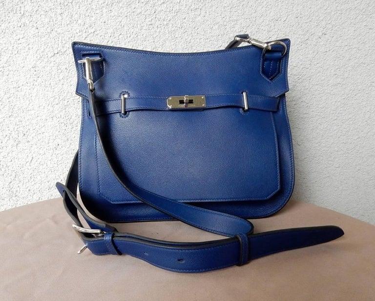 NIB Hermes Beautiful Blue Jypsiere Leather Bag Shoulder Strap & Cross Body 2