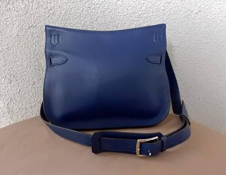 NIB Hermes Beautiful Blue Jypsiere Leather Bag Shoulder Strap & Cross Body 3