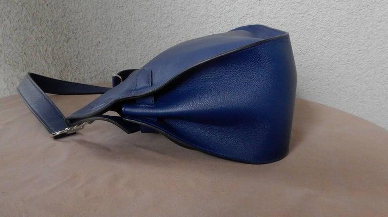 NIB Hermes Beautiful Blue Jypsiere Leather Bag Shoulder Strap & Cross Body 6