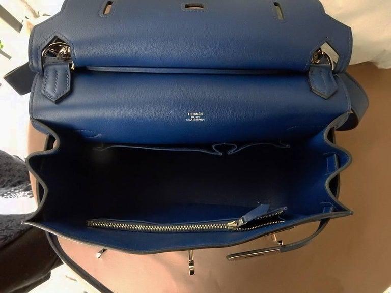 NIB Hermes Beautiful Blue Jypsiere Leather Bag Shoulder Strap & Cross Body 9