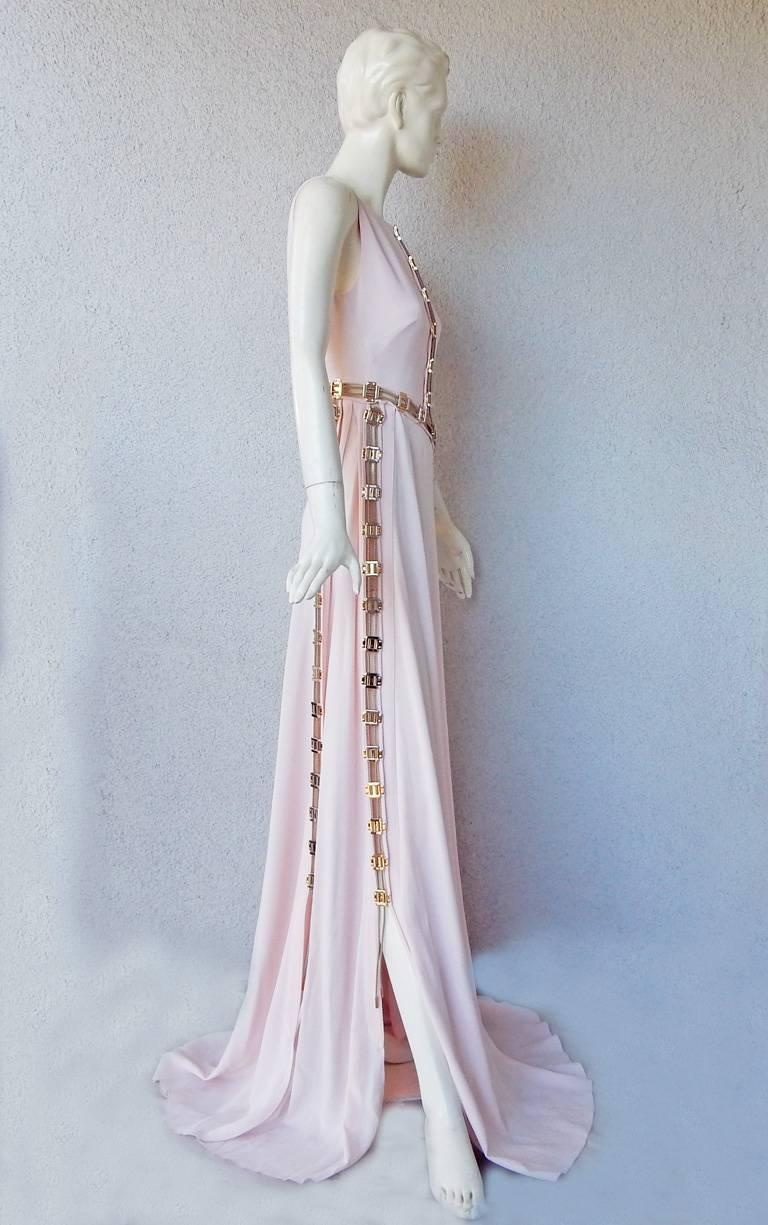"Women's Antonio Berardi ""Pretty in Pink""  Asymmetric Gown w/Rose Gold Hardware  For Sale"