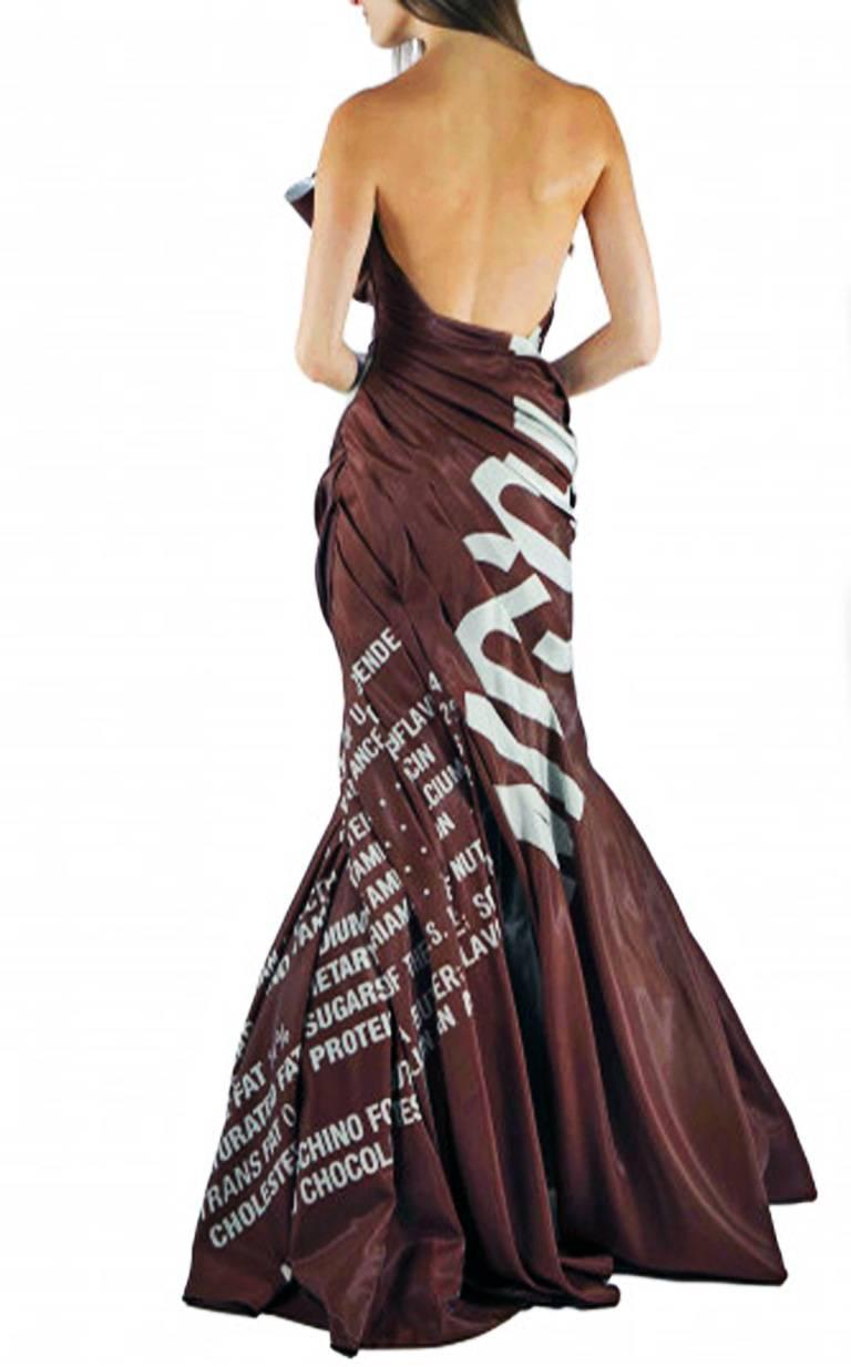 Moschino Couture Hershey Chocolate Bar Runway Gown   New In New never worn Condition For Sale In Los Angeles, CA
