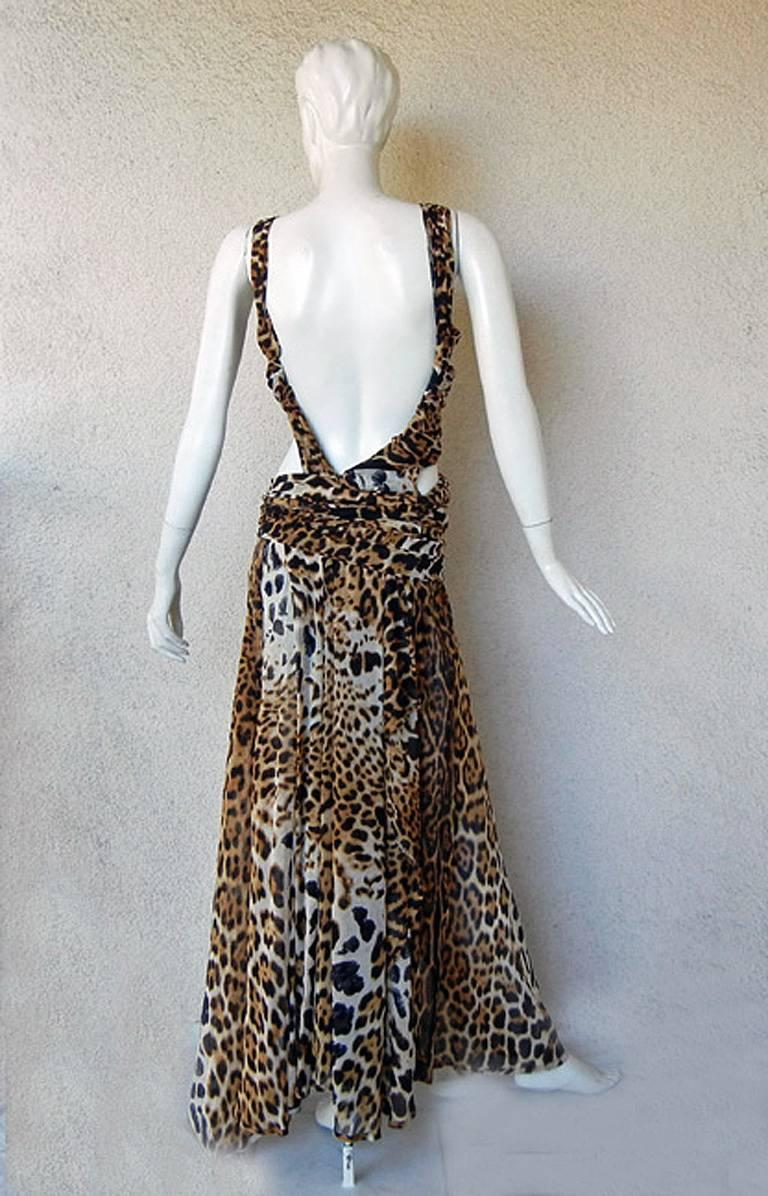 Black  Tom Ford for Saint Laurent 2002 Leopard Cut-Out Wrap Silk Dress  Most Wanted! For Sale