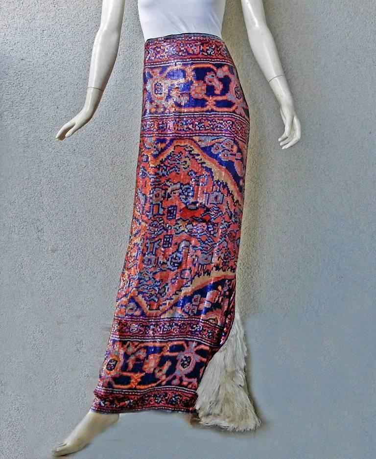 Maison Margiela Runway Tapestry Beaded Evening Skirt Gown In New never worn Condition For Sale In Los Angeles, CA