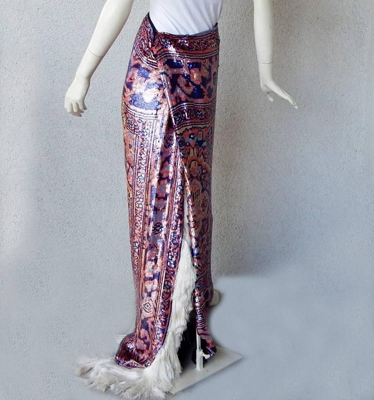 Maison Margiela Runway Tapestry Beaded Evening Skirt Gown For Sale 1