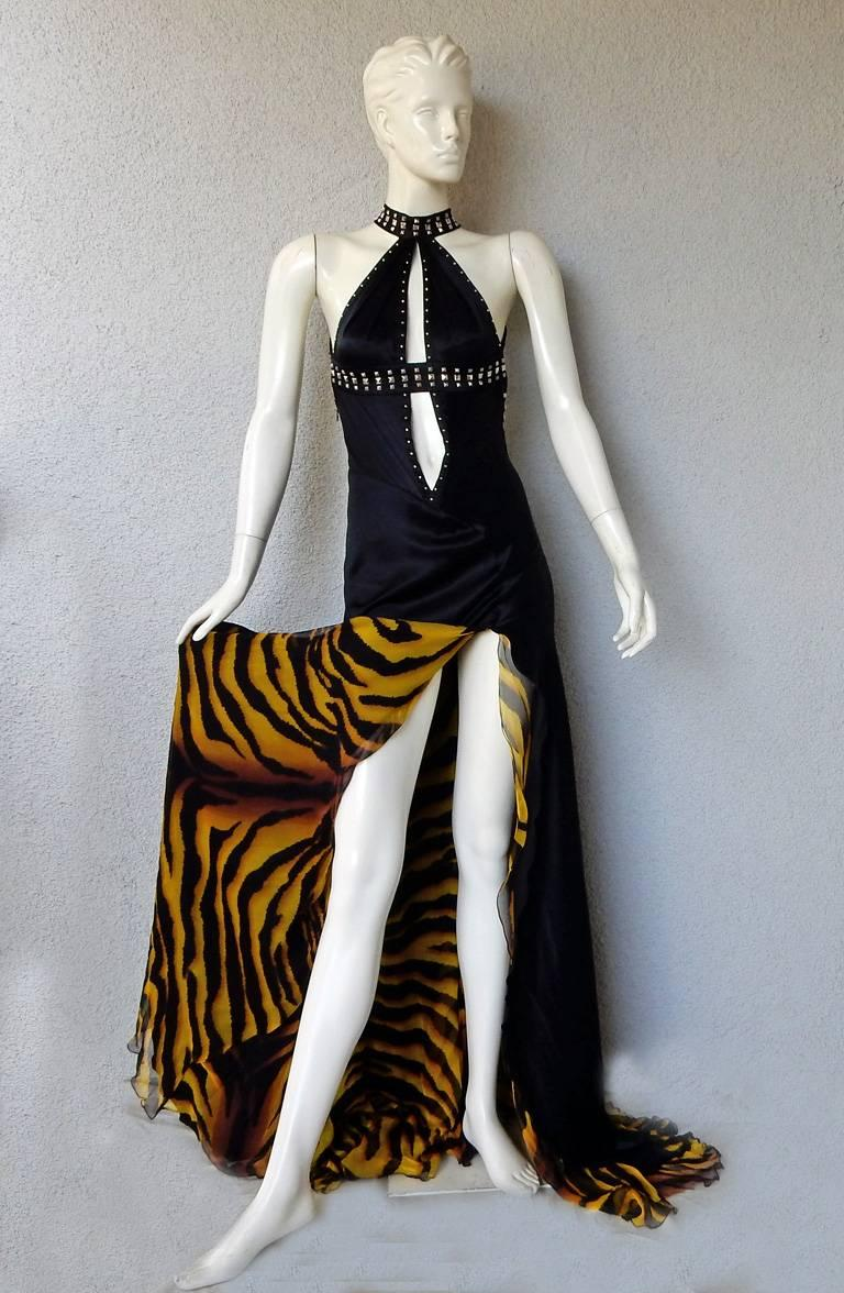 Black Versace Bondage Dress Gown with Plunging Neckline & Thigh High Slit   New! For Sale