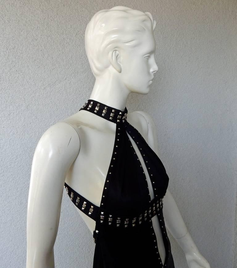 Versace Bondage Dress Gown with Plunging Neckline & Thigh High Slit   New! In New Condition For Sale In Los Angeles, CA