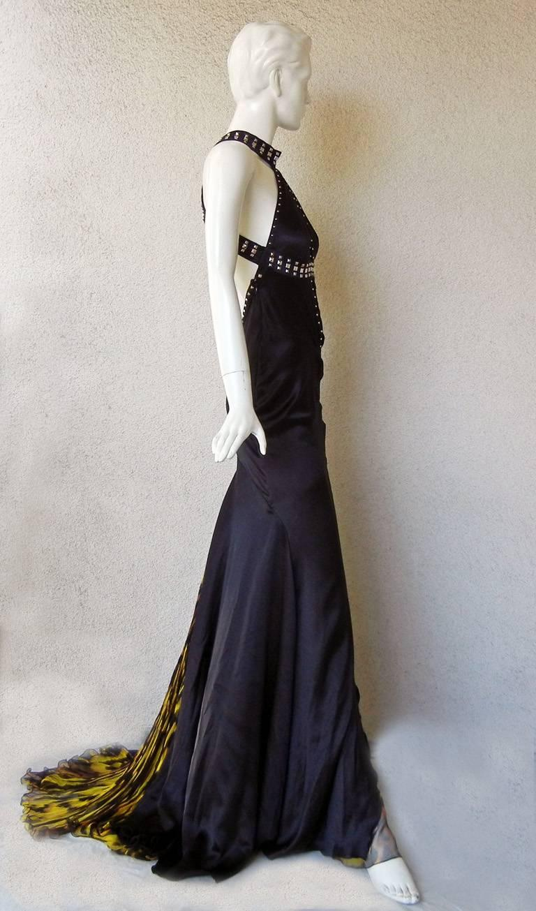Women's Versace Bondage Dress Gown with Plunging Neckline & Thigh High Slit   New! For Sale
