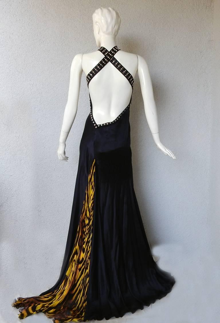 Versace Bondage Dress Gown with Plunging Neckline & Thigh High Slit   New! For Sale 1