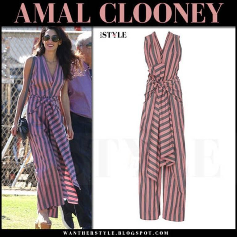 Black Tome Amal's Sexy Stripe Tie Waist Jumpsuit For Sale