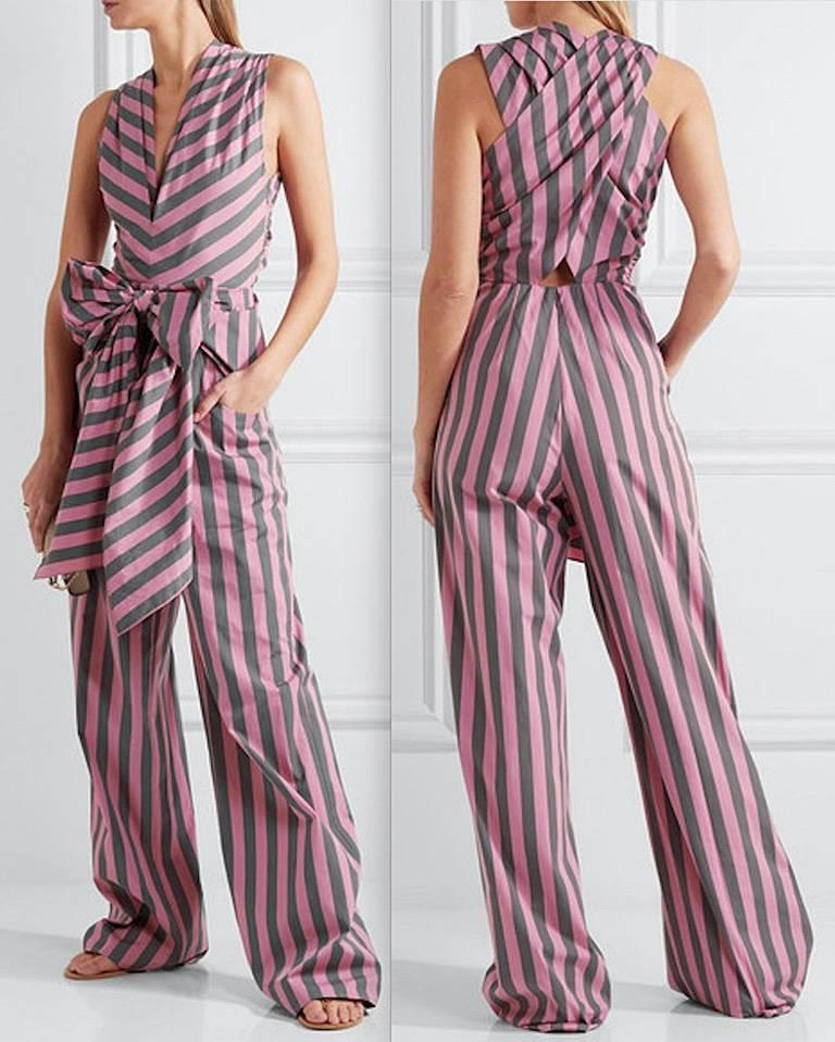 Tome Amal's Sexy Stripe Tie Waist Jumpsuit In New Never_worn Condition For Sale In Los Angeles, CA
