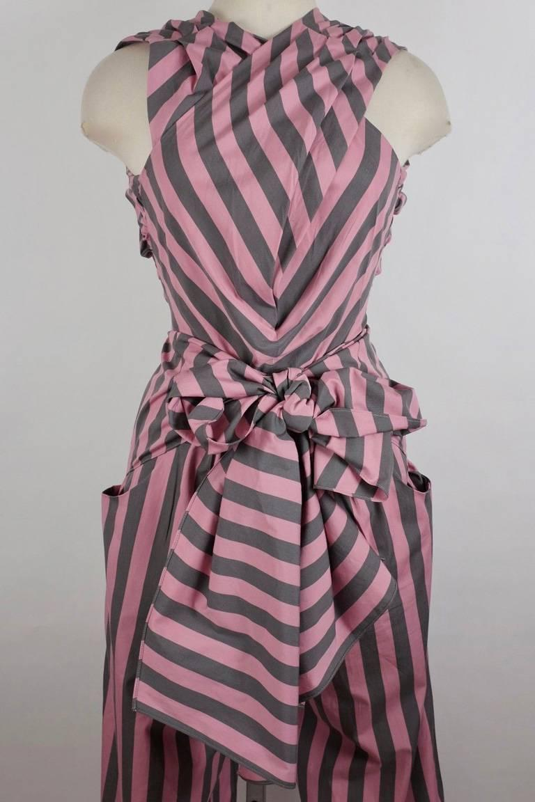 Women's Tome Amal's Sexy Stripe Tie Waist Jumpsuit For Sale