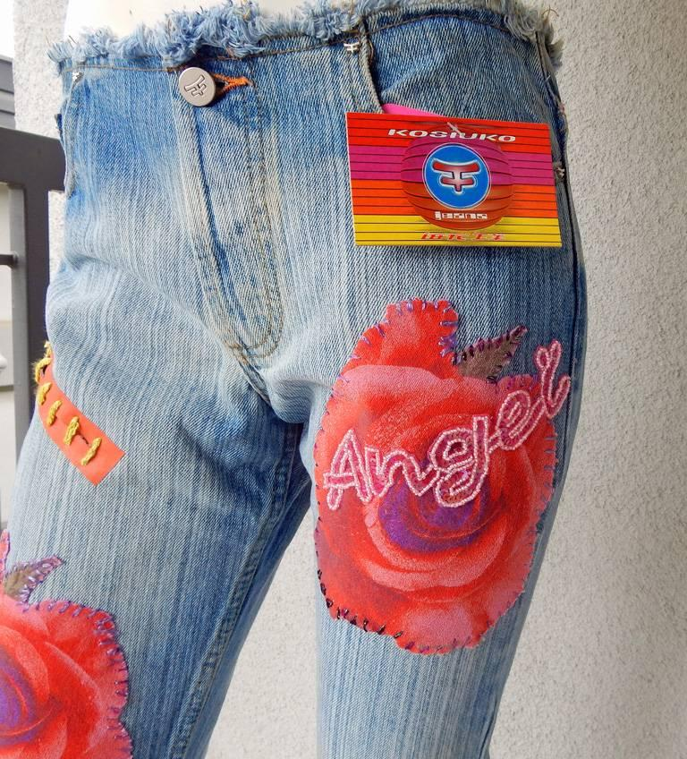 Gray Kosiuko Rare Vintage Jeans with Large Roses Embellished Jeans  New Condition   For Sale