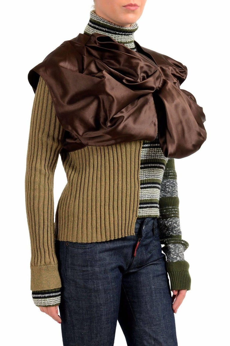 Black Masion Margiela Hi Fashion Mixed Media Assymetric Bow Sweater - Stunning, New M For Sale