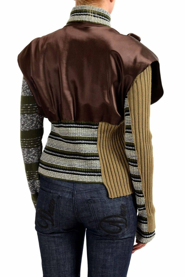 Masion Margiela Hi Fashion Mixed Media Assymetric Bow Sweater - Runway New M In New Condition For Sale In Los Angeles, CA