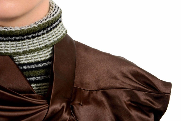 Women's Masion Margiela Hi Fashion Mixed Media Assymetric Bow Sweater - Runway New M For Sale