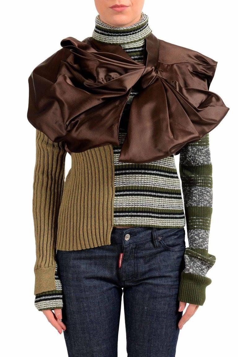 Masion Margiela Hi Fashion Mixed Media Assymetric Bow Sweater - Stunning, New M For Sale 2