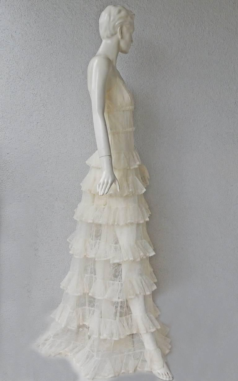Alexander McQueen Runway Dreamy Lace Tiered Dress Gown   New! For Sale 1