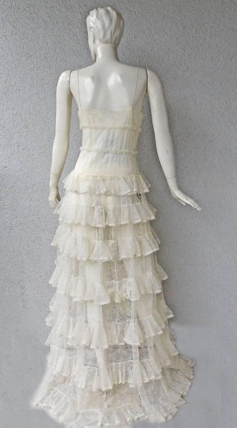 Alexander McQueen Runway Dreamy Lace Tiered Dress Gown   New! For Sale 3