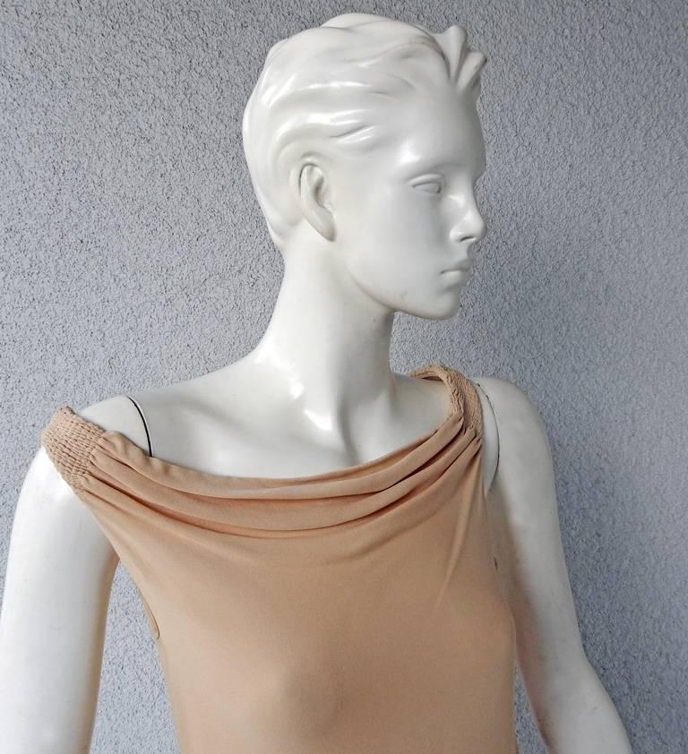 Beige Chloe by Stella McCartney 2001 Sea-Grass Hand Embroidered Bias Cut Dress  For Sale