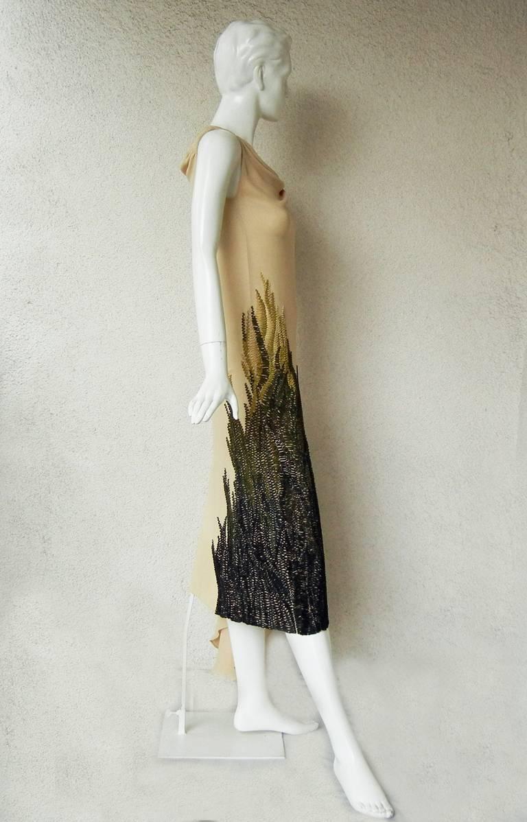 Women's Chloe by Stella McCartney 2001 Sea-Grass Hand Embroidered Bias Cut Dress  For Sale