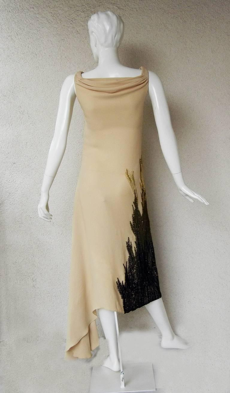 Chloe by Stella McCartney 2001 Sea-Grass Hand Embroidered Bias Cut Dress  For Sale 1