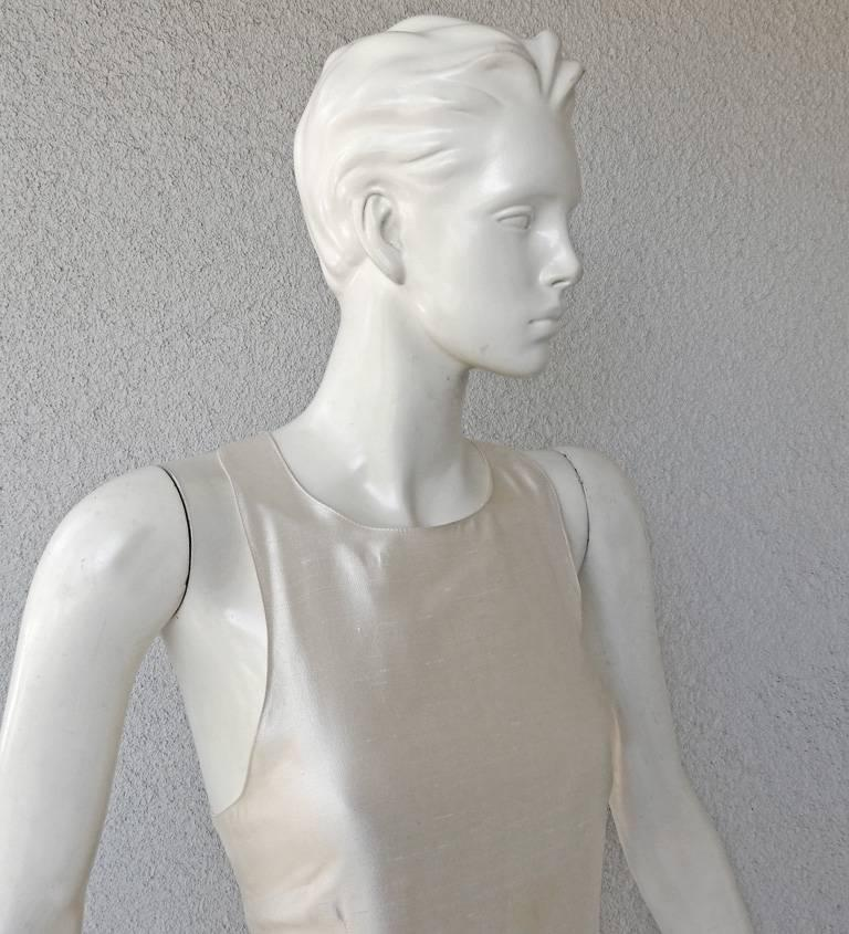 Valentino White Bondage Runway Finale Dress Gown with Jeweled Buckles and Train  In Excellent Condition For Sale In Los Angeles, CA