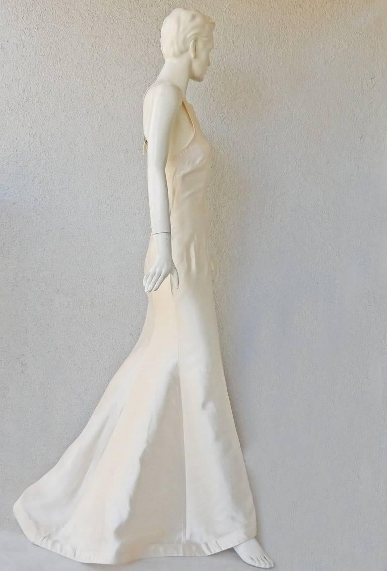 Women's Valentino White Bondage Runway Finale Dress Gown with Jeweled Buckles and Train  For Sale