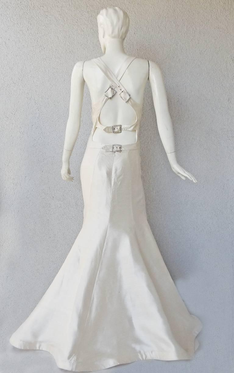 Valentino White Bondage Runway Finale Dress Gown with Jeweled Buckles and Train  For Sale 1