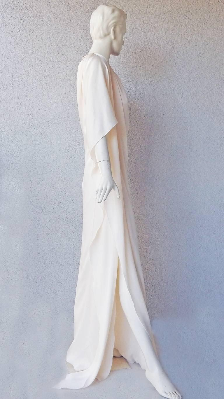 Gray Lanvin White Grecian Drape One Shoulder Gown with Embellished Flower Neckline For Sale