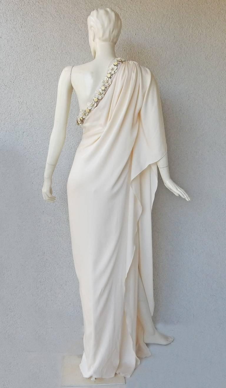 Lanvin White Grecian Drape One Shoulder Gown with Embellished Flower Neckline In Excellent Condition For Sale In Los Angeles, CA