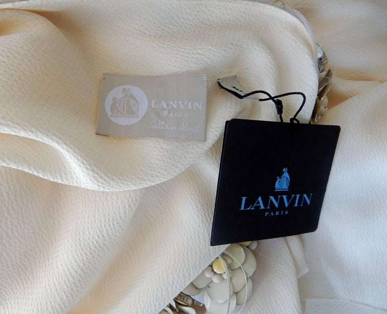 Lanvin White Grecian Drape One Shoulder Gown with Embellished Flower Neckline For Sale 1