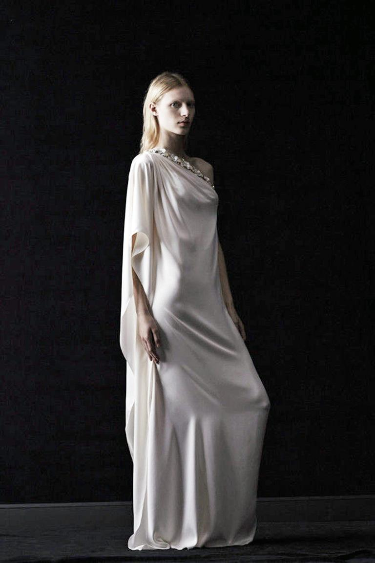 Lanvin White Grecian Drape One Shoulder Gown with Embellished Flower Neckline For Sale 2