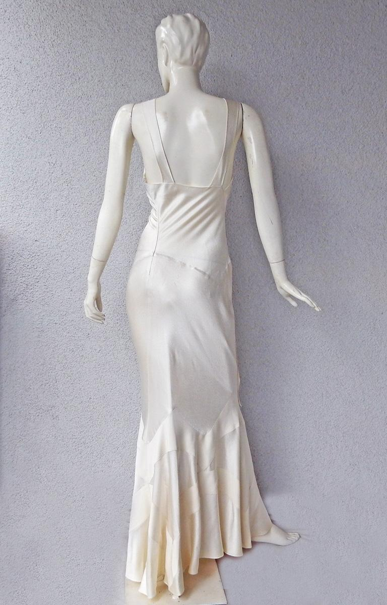 Gray Christian Dior by John Galliano 1930's Harlow Inspired White Silk Gown Dress For Sale