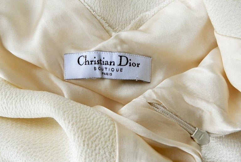 Christian Dior by John Galliano 1930's Harlow Inspired White Silk Gown Dress In Excellent Condition For Sale In Los Angeles, CA