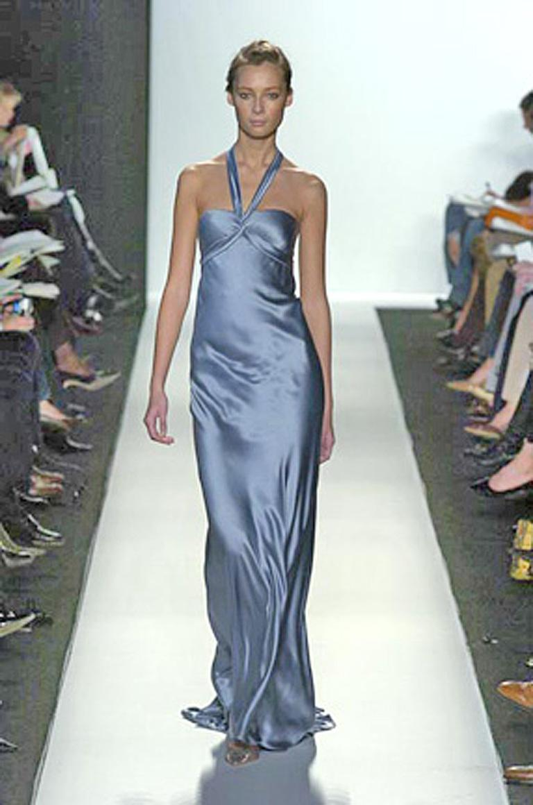 Oscar de la Renta bias cut gunmetal blue silk charmeuse halter gown as seen in his runway collection. Designed in the tradition of 1930's Old Hollywood glamour ... very reminiscent of the legendary