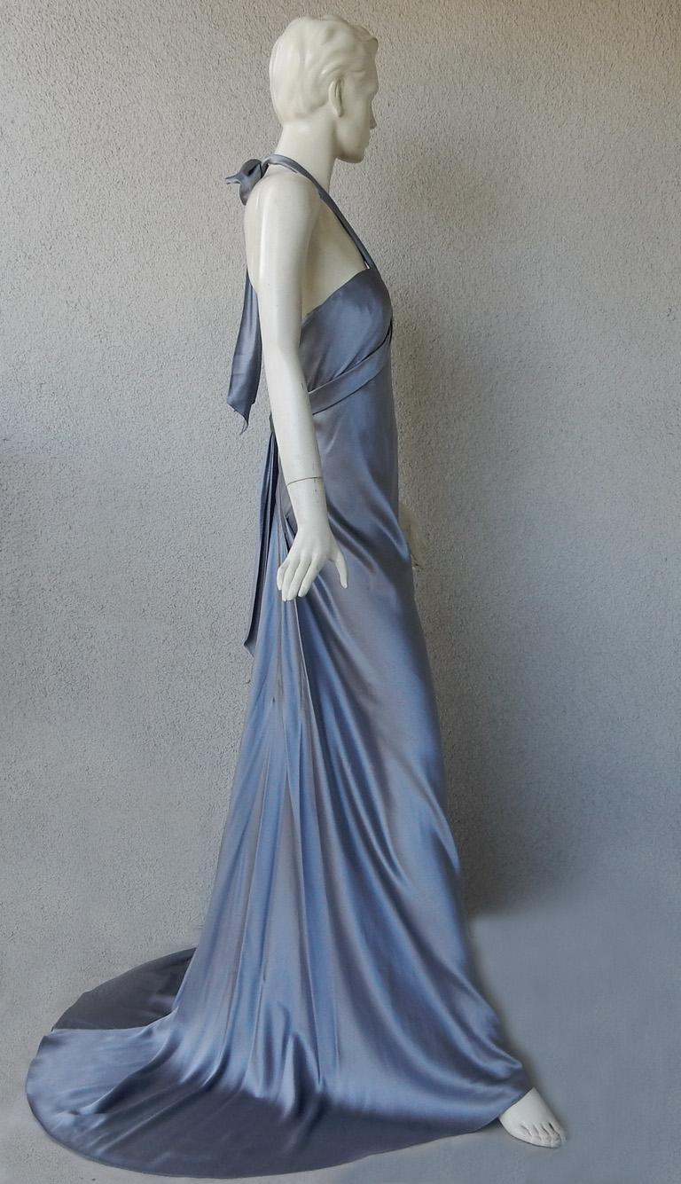 Oscar de la Renta 1930's Harlowesque Silk Charmeuse Bias Cut Gown In New Condition For Sale In Los Angeles, CA