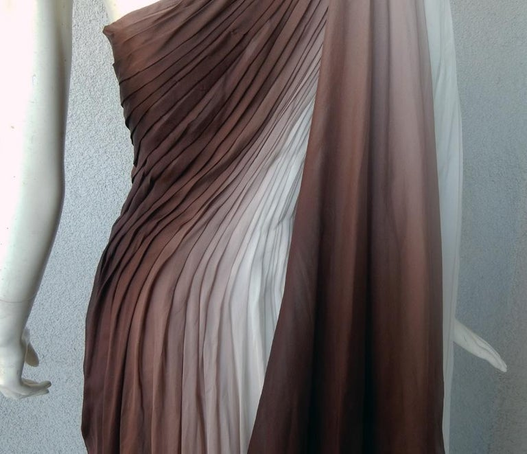 Monique LHuillier Runway One Shoulder Toga Silk Chiffon Gown Dress For Sale 2
