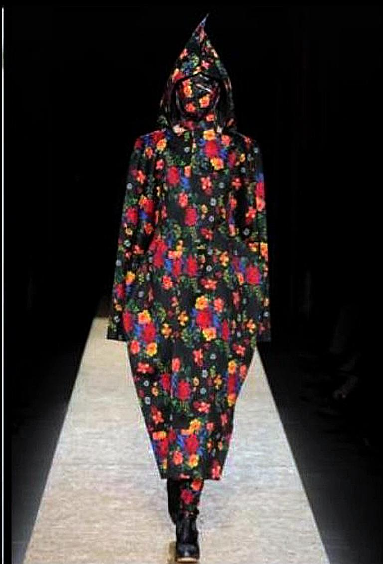 Comme des Garcons Lady Gaga Floral Hooded Runway Dress For Sale 4