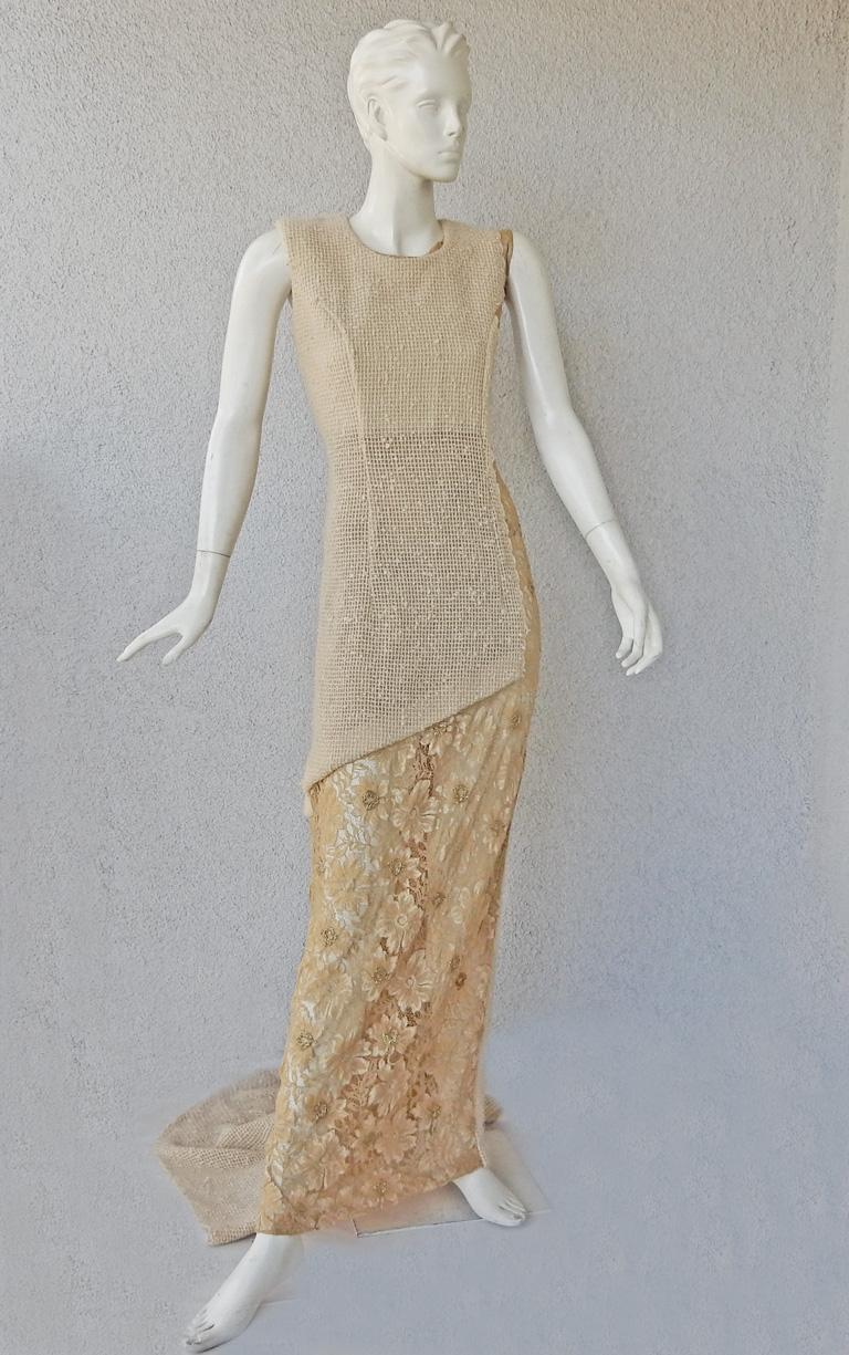 Rei Kawakubo opened the 1997 f/w runway show in this  soft gold lace and textured wool asymmetrical embellished  gown.    As seen in the Comme des Garcons MET exhibition.  Sleeveless crew neck design with full underskirt of lace and lightly