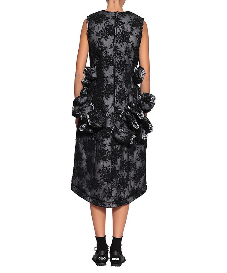 Comme des Garcon Padded Black Lace / Tulips Raw Edge Future of Silhouette Dress  In New Condition For Sale In Los Angeles, CA