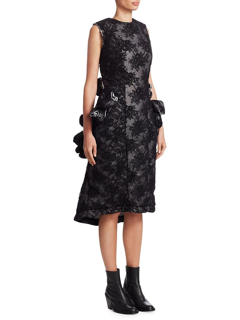 Women's Comme des Garcon Padded Black Lace / Tulips Raw Edge Future of Silhouette Dress  For Sale