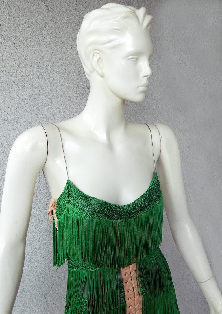 Gray Dolce & Gabbana Naomi's Runway Flapper Fringe Corset Dress, 2003  For Sale