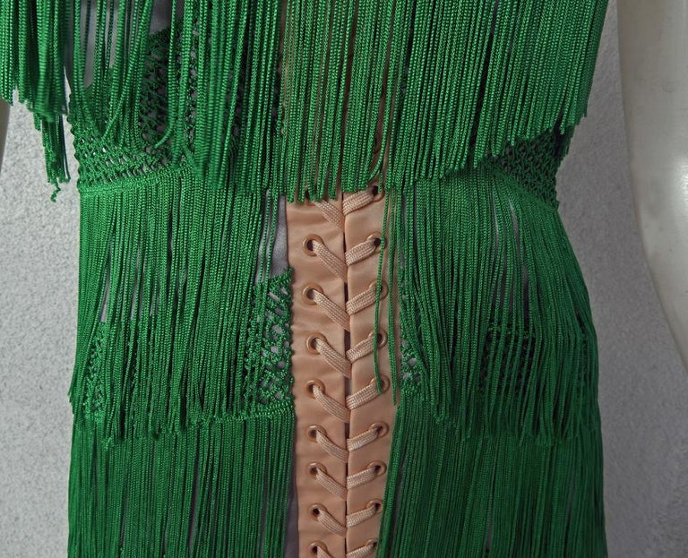 Dolce & Gabbana Naomi's Runway Flapper Fringe Corset Dress, 2003  In New Condition For Sale In Los Angeles, CA