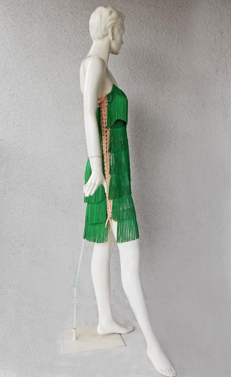 Women's Dolce & Gabbana Naomi's Runway Flapper Fringe Corset Dress, 2003  For Sale