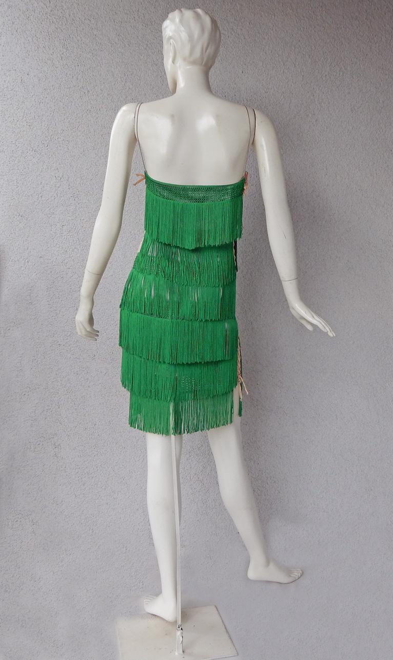 Dolce & Gabbana Naomi's Runway Flapper Fringe Corset Dress, 2003  For Sale 1
