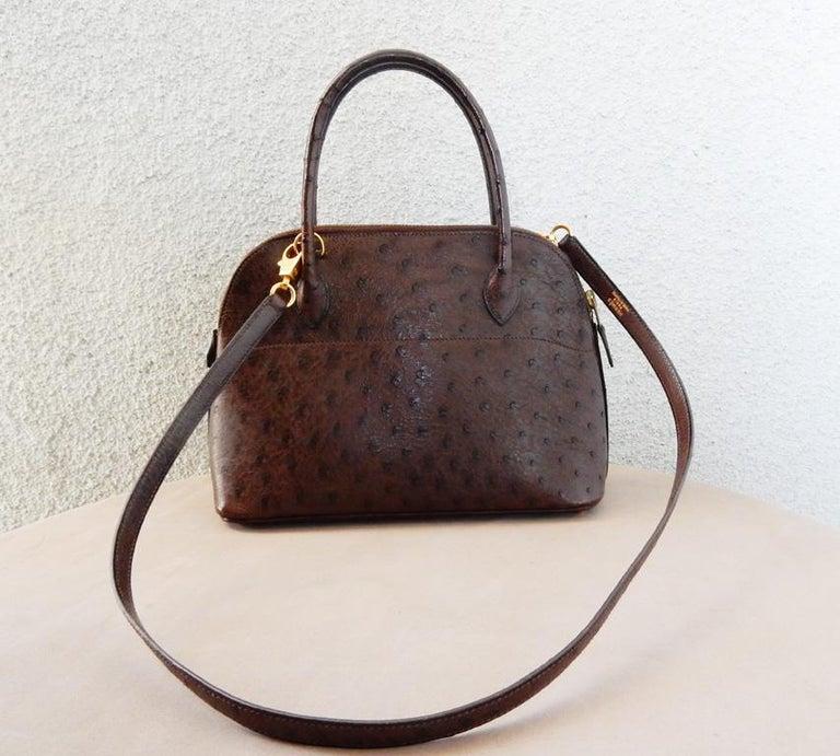 Black  Hermes Genuine Ostrich Baby Bolide Handbag  Unused! For Sale